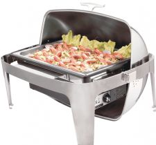 Super Luxury, Highly Polished Stainless Steel Electric Roll Top Chafer, Chafing Set. 8.5 litre capacity.